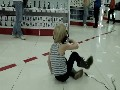 Kid dance in the store))
