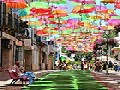 Floating Umbrellas Above a Street in Agueda, Portugal